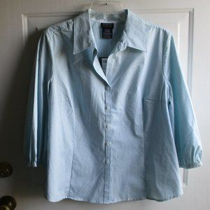 George 3/4 Sleeve Shirt - teal & white pin stripe